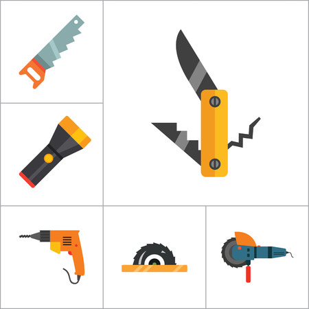thirteen: Techniques icons set with woodsawing machine, electric drill and hand saw. Thirteen vector icons