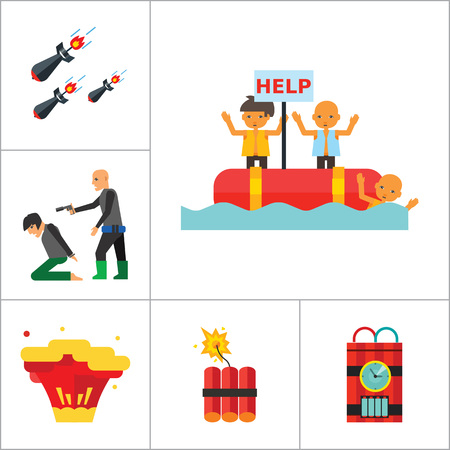 hostage: Terrorism Icon Set. Kamikaze Fire Cocktail Dynamite Army Tags Hostage Bomb With Timer Machine Gun Missiles Explosion Refugees Terrorist Shooting Target War Illustration