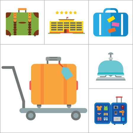 thirteen: Travel icons set with airplane, flight ticket and suitcase. Thirteen vector icons