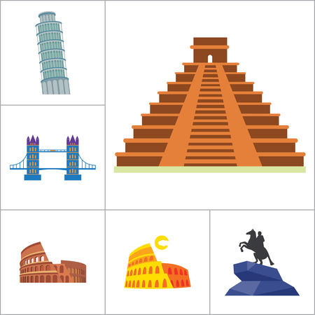 leaning tower of pisa: Tourist attraction icons set. Thirteen vector icons of Eiffel Tower, Big Ben, Pyramids and other tourist attractions Illustration
