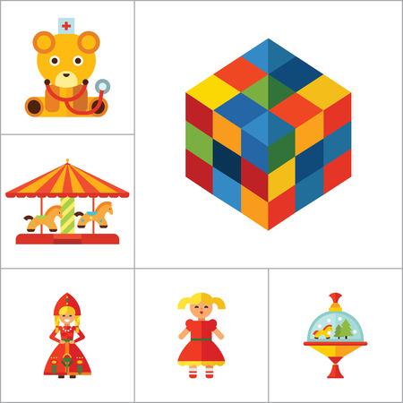 molinete: iconos de juguetes conjunto con el cubo Rubics, zapateros y elefante de juguete. Trece iconos vectoriales