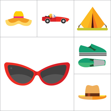 cabriolet: Vacation Icon Set. Picnic Basket Summer Shoes Bikini Tent Sun With Umbrella Sunglasses Womans Summer Hat Mans Hat Summer Drink Woman In Cabriolet Coconut Palms With Monkey Beach Couple In Cabriolet