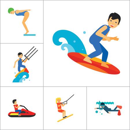 windsurf: Water Sport Icon Set. Barco para condiciones extremas de agua de salto de esquí acuático Buceo Polo acuático Windsurf Natación Surf Kayaks Barco de vela moto acuática Kite Surf río con los remos
