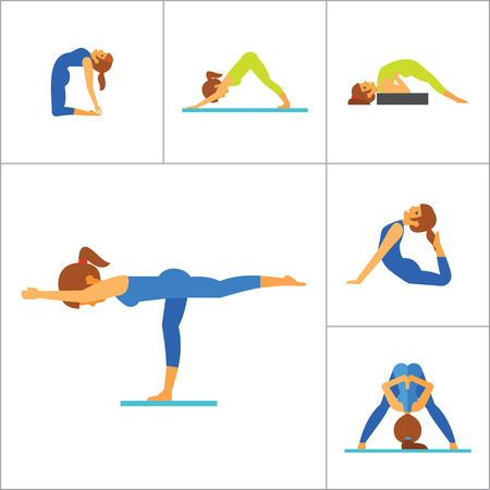 handstand: Yoga Icon Set. Meditation Rajakapotasana Sarvangasana Halasana Ustrasana Astavakasana Bakasana Handstand Virabhadrasana Svanasana Prasarita