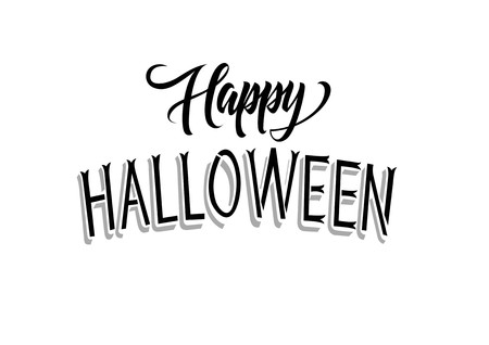 leaflets: Happy Halloween lettering. Halloween design element. Handwritten and typed text, calligraphy. For greeting cards, posters, leaflets and brochures. Illustration