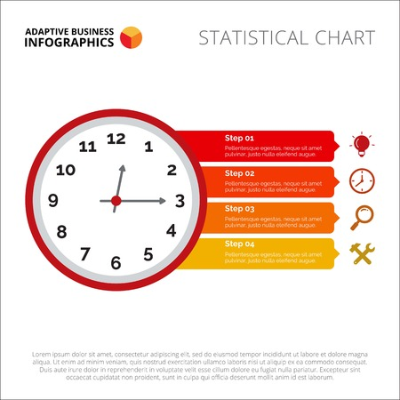 Clock infographic. Element of presentation, step diagram, chart. Concept for templates, infographics, reports. Can be used for topics like business strategy, marketing statistics, planning Illustration