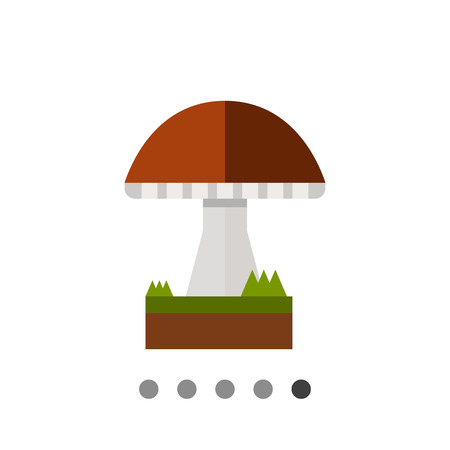 Multicolored vector icon of mushroom with cap and stipe