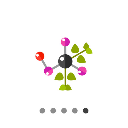 natural science: Multicolored vector icon of molecule with green leaves representing natural science concept