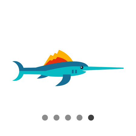 gill: Multicolored vector icon of needlefish, side view