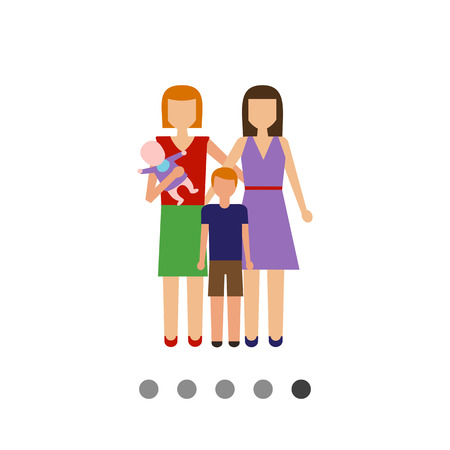 Icon of gay family consisting of two women and two children