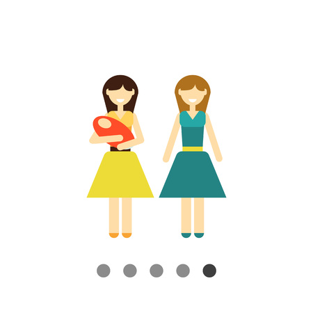 Icon of gay family consisting of two women and one baby Illustration