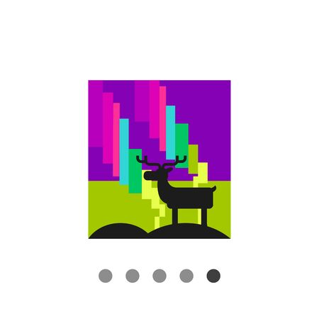 atmospheric: Multicolored vector icon of bright northern lights and standing reindeer Illustration