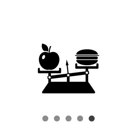 lowfat: Monochrome vector icon of balance with apple on one scale and hamburger on another representing nutrition concept