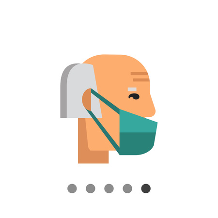 quarantine: Multicolored vector icon of old man wearing medical mask