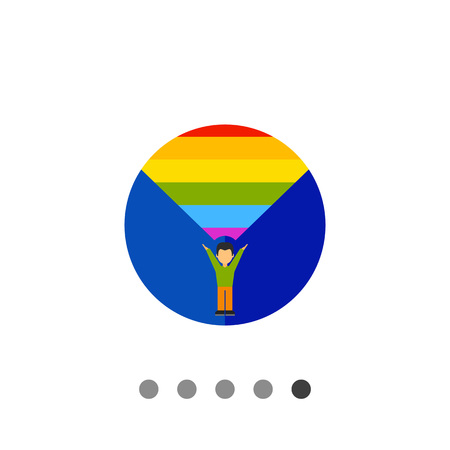 coming out: On coming out icon. Multicolored vector illustration of male character coming out Illustration
