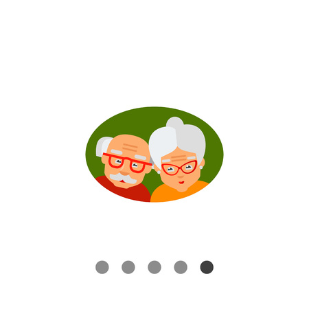 old age: Old age icon. Multicolored vector illustration of elderly couple