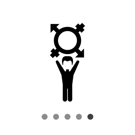 transgender gay: On coming out vector icon. Black illustration of male character with transgender symbol