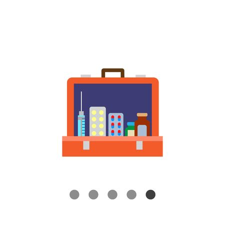 capsules: Multicolored vector icon of open first aid kit with pill bottles, capsules, syringe Illustration