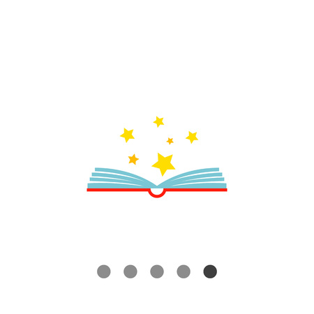 adventure story: Multicolored vector icon of open book with stars above it