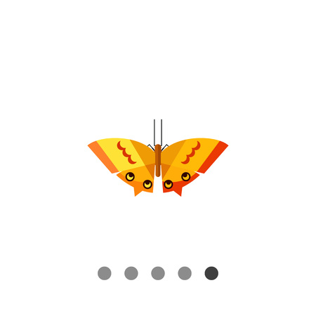 Multicolored vector icon of orange butterfly with yellow stripes and spots