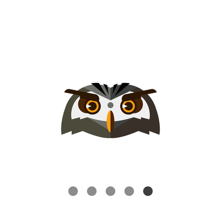 Multicolored vector icon of eagle-owl head