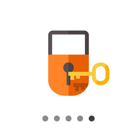 Multicolored vector icon of padlock with key Illustration