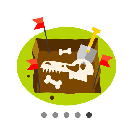 excavations: Multicolored vector icon of excavations with dinosaur skull and bones representing paleontology concept