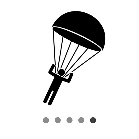airborne: Parachutist landing. Extreme, paratrooper, recreation. Parachuting concept. Can be used for topics like sport, airborne troops, entertainment.