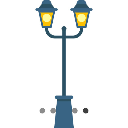 Multicolored vector icon of two lights park lamp post 矢量图像