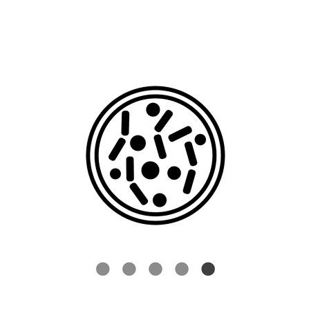 Petri dish simple icon. Vector illustration of Petri dish with bacteria