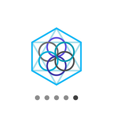 metaphysics: Multicolored vector icon of abstract geometric circle and polygon elements representing philosophy