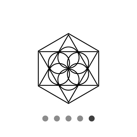 Monochrome vector icon of abstract geometric circle and polygon elements representing philosophy
