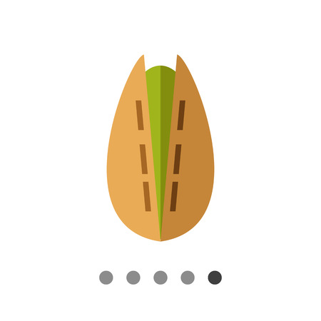 Multicolored vector icon of one cracked pistachio Illustration