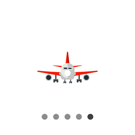 jet plane: Multicolored vector icon of big jet plane front view Illustration