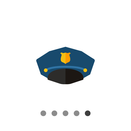 cockade: Police cap. Uniform, protection, profession. Headwear concept. Can be used for topics like fashion, clothing, police, marketing.