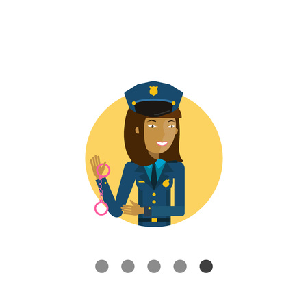 femme policier: Female character, portrait of young Asian policewoman holding handcuffs Illustration