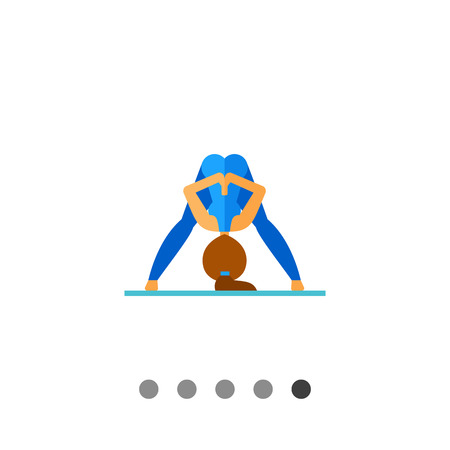 Multicolored vector icon of woman doing yoga in prasarita pose and pressing palms together behind her back, side view