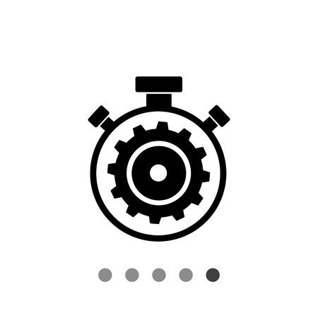 Vector icon of stopwatch with gear inside representing processing concept