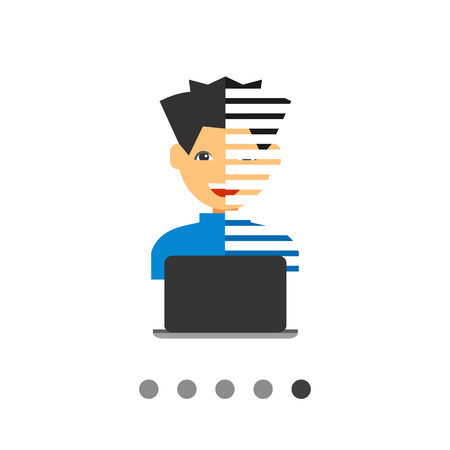 Multicolored vector icon of young man with open laptop representing programmer