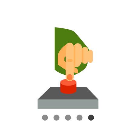 press button: Press button icon. Vector illustration of hand pressing red button