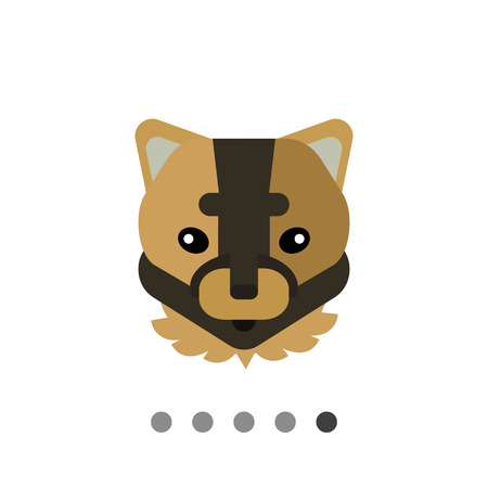 Multicolored vector icon of brown puma head