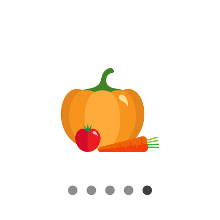 Vector icon of pumpkin, tomato and carrot
