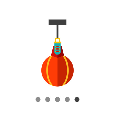 punching: Multicolored vector icon of scope punching bag