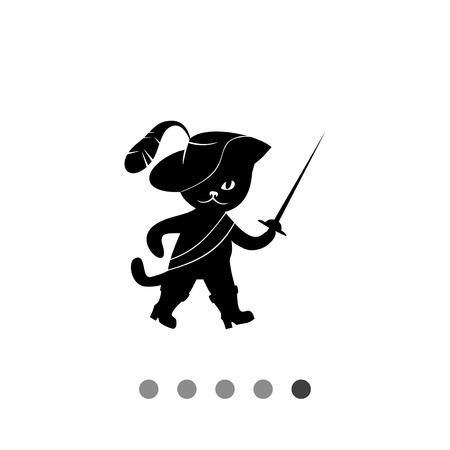 black feathered: Puss in boots simple icon. Black vector illustration of Puss in boots wearing feathered hat and holding rapier Illustration