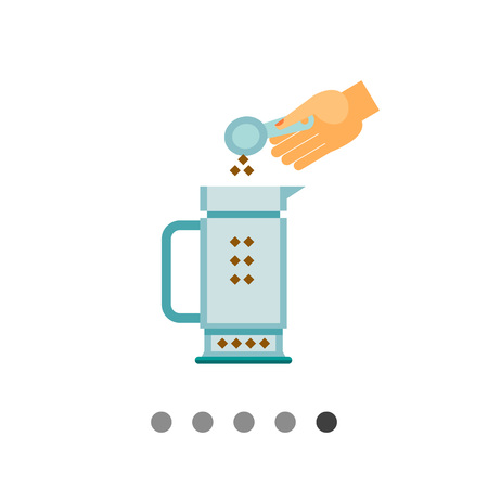 putting: Icon of human hand putting ground coffee to coffee pot