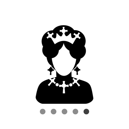 earing: Monochrome vector icon of queen of England faceless silhouette