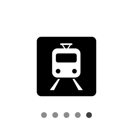 locomotion: Monochrome vector icon of train on rails in black square representing railway concept