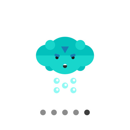 Multicolored vector icon of cloud with frown face and rain Illustration