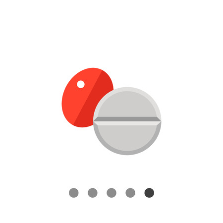 red pill: Multicolored vector icon of red oval pill and white round pill