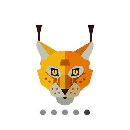 the lynx: Multicolored vector icon of red lynx head